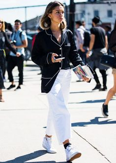Pair a silk pajama top with white trousers and white high-top sneakers.