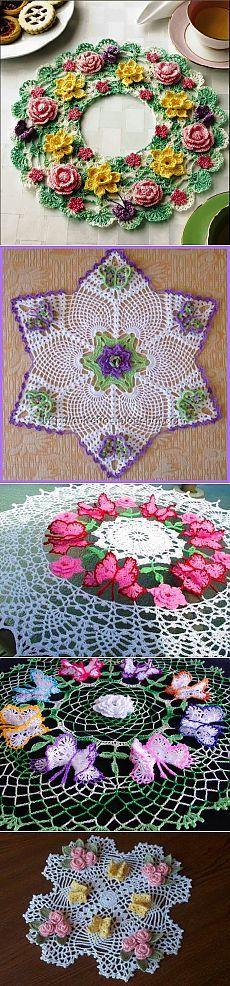 toalhetes bonita com borboletas, crochet
