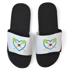 PR SOLES® White Lacrosse Slide Sandals - Lax Heart with Crossed Sticks * Check this awesome product by going to the link at the image.