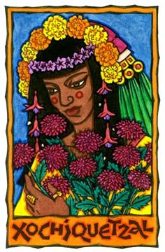AZTEC goddess of love. Xochiquetzal was the most charming of the Aztec pantheon and was always seen being followed by butterflies and birds wherever she walked. As mentioned, her name means 'beautiful like a flower' in Nahuatl. external image xochiquetzal.jpg