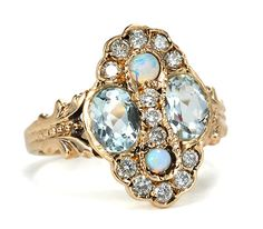 Aquamarine, Opal and Diamond Cluster Ring in Rose Gold