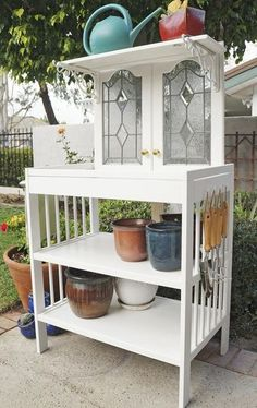 Make a potting bench to help your toddler hone her green thumb! To finish it off, mount a salvaged towel rack on one side and bought hooks (from a hardware store for $5) for the other side to hang gardening tools.