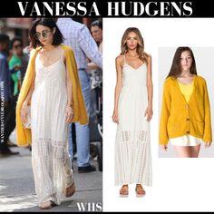 Vanessa Hudgens in ivory lace crochet maxi slip dress with mustard cardigan #vanessahudgens #fashion #style #streetstyle #lace #crochet #dress #maxi #white #ivory #summer #spring #trend