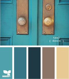 Living room colors palette design seeds New ideas Design Seeds, Colour Schemes, Color Combos, Paint Schemes, Colour Palettes, Teal Door, Turquoise Door, Scandi Living, Cozy Living