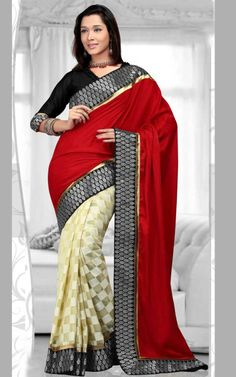 RED & OFF WHITE BANARASI LATEST SAREE - RIS 1703B