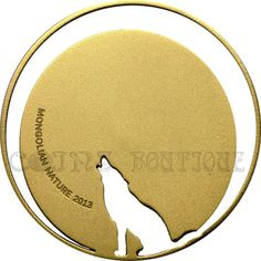 Crying Wolf Mongolian Nature  coin gilded 2013 Mongolia