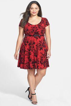 Flock Print Fit & Flare Dress (Plus Size)