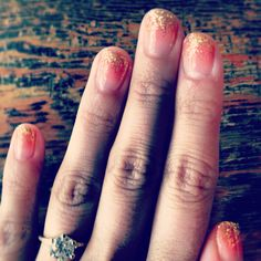 My peachy glitter gradient nails for my wedding. Got them done @ Marie nails in NYC