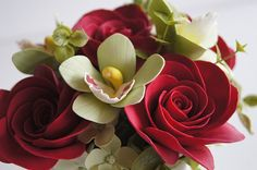 Wedding Decoration Red Rose and Orchid Arrangement Table by parsi, $85.00