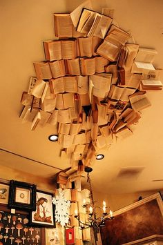 Books above, I would love to do this in my apartment, but I don't have the heart to hurt books!