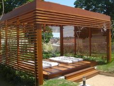 The wooden pergola is a good solution to add beauty to your garden. If you are not ready to spend thousands of dollars for building a cozy pergola then you may devise new strategies of trying out something different so that you can re Outdoor Areas, Outdoor Rooms, Outdoor Living, Outdoor Structures, Outdoor Decor, Outdoor Yoga, Interior Exterior, Exterior Design, Garage Exterior