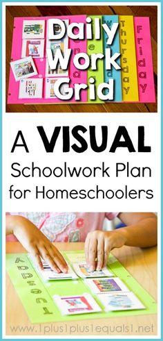Daily Work Grid  ~ Visual Schoolwork Plan for Homeschoolers {VIDEO Tutorial included in post!}