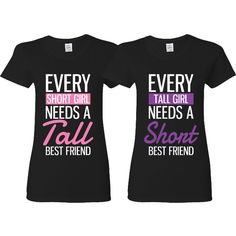 Bffs Matching T-Shirts Tall and Short Funny Best Friends T-Shirts... (€26) ❤ liked on Polyvore featuring tops, t-shirts, grey, women's clothing, tall tees, grey t shirt, gray top, grey tee и tall t shirts