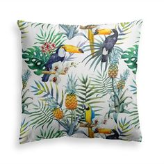 Toucan Pillow Palm Leaf Pillow Outdoor Patio Pillow Cover Pineapple Accent Pillow Tropical Home Deco White Throw Pillows, Colorful Pillows, Linen Pillows, Cotton Pillow, Sofa Throw, Decorative Pillow Cases, Throw Pillow Cases, Pillow Covers, Cushion Covers