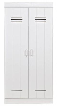 LEF collections Kledingkast 'Connect' 2 deurs lockerdeur wit grenen 195X94X53cm Wonen met lef