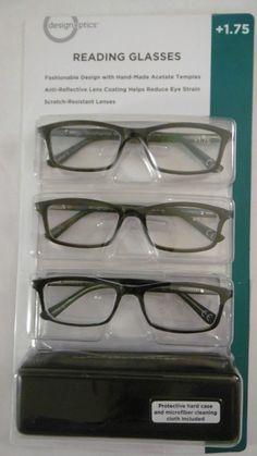 DESIGN OPTICS 3-PACK +1.75 FASHION FULL FRAME READING GLASSES WITH CASE B61-6 #DESIGNOPTICSbyFOSTERGRANT