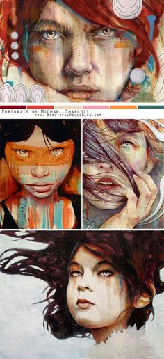 Stunning mixed media portraits by Michael Shapcott  Look at those colors and contrast!