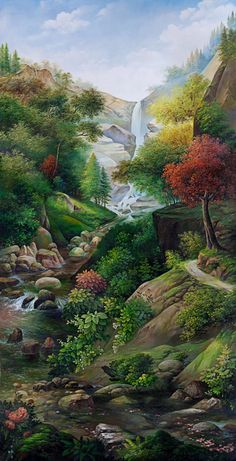 Beautiful view - Travel tips - Travel tour - travel ideas Scenery Paintings, Nature Paintings, Beautiful Drawings, Beautiful Landscapes, Landscape Art, Landscape Paintings, Graffiti Kunst, Kinkade Paintings, Beautiful Nature Wallpaper
