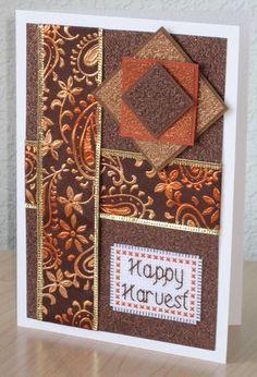 Happy Harvest Thanksgiving Handmade Cross Stitch Card