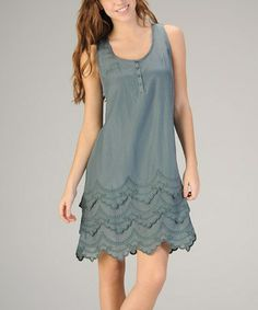 Another great find on #zulily! Blue Scalloped Silk-Blend Scoop Neck Dress #zulilyfinds