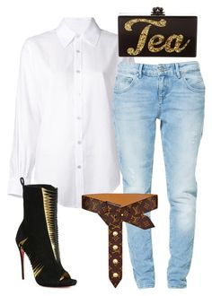 Untitled #6172 by stylistbyair on Polyvore featuring polyvore, fashion, style, Crippen, Zara, Christian Louboutin, Edie Parker, Louis Vuitton and clothing