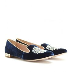 Miu Miu Embroidered Slipper-Style Loafers With Embellished Heel (54.685 RUB) ❤ liked on Polyvore featuring shoes, loafers, bleu, flat, metallic shoes, decorating shoes, beaded flat shoes, indigo shoes and loafers & moccasins