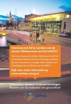 We zoeken zes leden voor een nieuw op te zetten Cliëntenraad UMCG http://bit.ly/Cliëntenraad