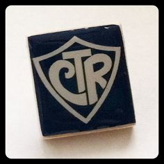 CTR Scrabble Tie Tack.  I wonder if I could make these for the Primary kids?