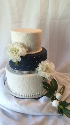 Navy Blue & White Wedding Cake with Quilting Bling and Pattern