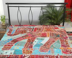 Elephant  bedding, Elephant bed cover, elephant bedspread, Indian applique patchwork bedding,Indian bedcover, Embroidered Bedspread Bedding