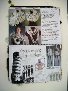 Fashion Sketchbook - architecture inspired fashion design research & gathering of ideas for development; fashion portfolio