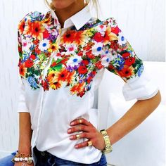 2017 Autumn New Women Long Sleeve Butterfly Floral Print Chiffon Blouse Shirts Casual White Slim Office Shirts Tops Blusas Chiffon Shirt, Print Chiffon, Chiffon Tops, Casual Tops, Casual Shirts, Casual Outfits, Blouses For Women, Long Sleeve Tops, Short Sleeves