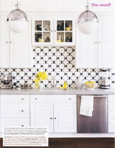 White, grey and pops of yellow, kitchen via Domino Magazine. This would be perfect for an apartment!