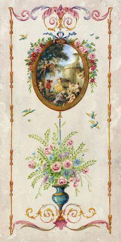 52 Ideas For Doll House Decorating Ideas Paint Motif Arabesque, Foto Transfer, Decoupage Vintage, Antique Paint, Decorative Panels, Vintage Interiors, Chinoiserie, Vintage Walls, Painting Inspiration
