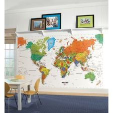 New WORLD MAP PREPASTED WALLPAPER MURAL Kids Room Decor Classroom Decorations