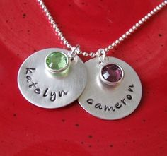 custom hand stamped silver double name necklace by juliethefish, $46.00