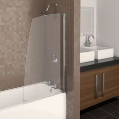 Buy Aqualux Aquarius Half Framed Sail Shower Screen from our Shower & Bath Screens range at John Lewis & Partners. Bath Shower Screens, Shower Taps, Bathroom Furniture, Bathroom Ideas, Modern Kitchen Design, Little Houses, Bathroom Fixtures, Clear Glass, Bathtub