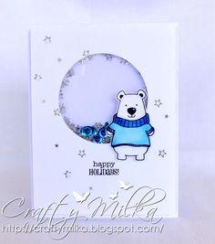 Happy Holidays Polar Bear Blue Shaker Card #janesdoodles