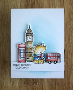 Kitty in London Birthday Card by Just Kate | Newton Dreams of London Stamp set by Newton's Nook Designs #newtonsnook