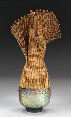 Raku pottery, dyed seagrass, rattan, silver-plated colored copper wire, copper beads