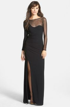 Halston Heritage Asymmetrical Mesh & Crepe Gown available at #Nordstrom