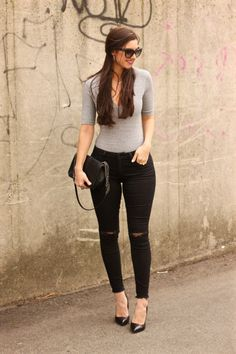 H&M Grey Bodysuit, Deep V grey bodysuit, casual datenight outfit