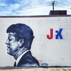 JFK mural facing downtown Dallas.