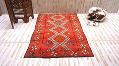 Medium Red Vintage Moroccan Berber 5x8 Tribal Rug Kilim Moroccan Carpet, Vintage Deco, Hand Woven Rug, Contemporary rug, Morocco carpet