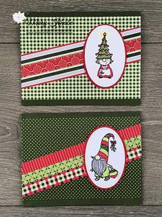 Create Christmas Cards, Homemade Christmas Cards, Stampin Up Christmas, Christmas Gnome, Christmas Cards To Make, Xmas Cards, Handmade Christmas, Holiday Cards, Christmas Stuff