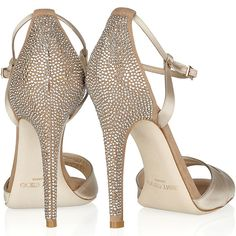 """Jimmy Choo """"Tema"""" Crystal-Embellished Satin and Suede Sandals"""