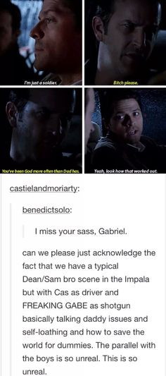 I love this both Gabriel and Castiel having a chat about their father just like .- I love this both Gabriel and Castiel having a chat about their father just like … I love this both Gabriel and Castiel having a chat about… - Supernatural Imagines, Supernatural Destiel, Dean Castiel, Funny Supernatural Memes, Supernatural Gabriel, Supernatural Wallpaper, Gabriel Spn, Supernatural Bloopers, Supernatural Tumblr
