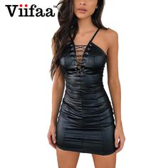 Leather lace up dresses