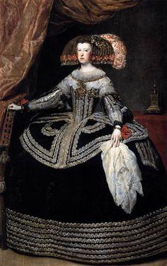 VELÁZQUEZ, Diego Rodriguez de Silva y  Spanish painter (b. 1599, Sevilla, d. 1660, Madrid)  Queen Doña Mariana of Austria  1652-53  Oil on canvas, 231 x 131 cm  Museo del Prado, Madrid