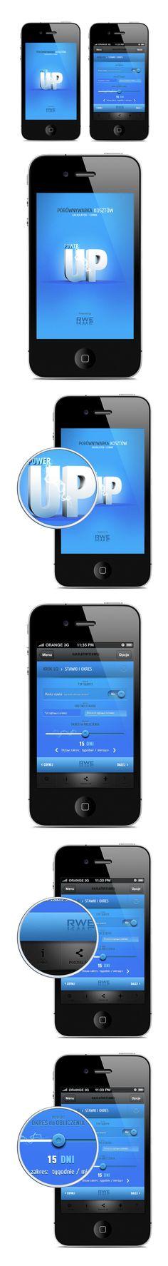 "Power Up App by Tomasz Przetacznik, via Behance *** "" Simple design, concept of app for cost comparison and calulation. """